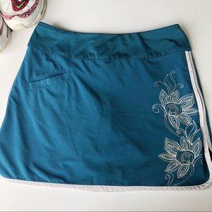 Athleta Swift Side Zip Floral Skort Skirt Teal